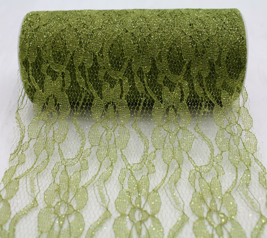 "6"" Olive Sparkle Lace - 10 Yard Ribbon"